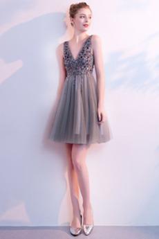A-Čára Rouška V-krk Tyl drahokamy živůtek Elegantní Koktejlové šaty