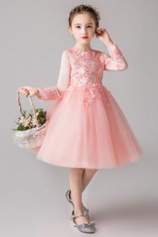 Krajka Kolena délka Zip nahoru Satén Podzim Květinové dívky šaty
