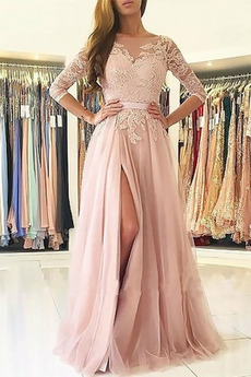 A-Čára Podzim Délka podlahy Elegantní Tlačítka Společenské šaty