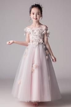 Tyl Krátký rukáv S diakritikou růžice Květiny Květinové dívky šaty