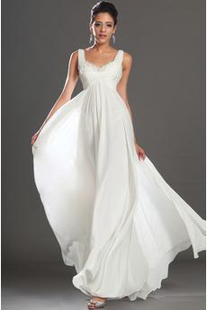 Bílá Bez rukávů Říše pasu Lopatka Elegantní Délka kotník Večerní šaty