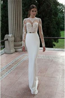 Dlouhý rukáv Aplikací Těsný Přirozeného pasu Iluze Svatební šaty