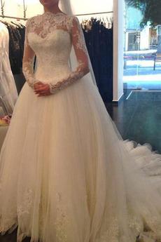 Krajka Střední záda Ročník Dlouho Se závojem Bateau Svatební šaty