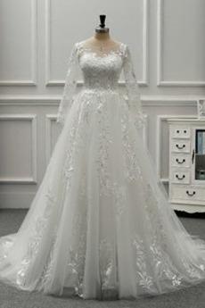Dlouhý rukáv Šperk Přírodní pas Podzim Formální Svatební šaty
