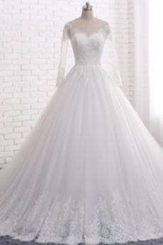 Dlouhý rukáv Přirozeného pasu Tyl Zip nahoru Nášivky Svatební šaty