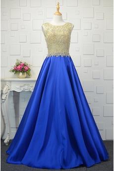 Bezzadu Satén Přírodní pas Plus Velikost Lištování Promové šaty