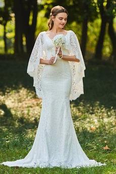 V-krk Kaple Vlak Volné rukávy Bez rukávů Moře dívka Svatební šaty