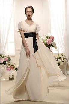 Krátké rukávy Elegantní Podzim A-Čára Délka podlahy Večerní šaty