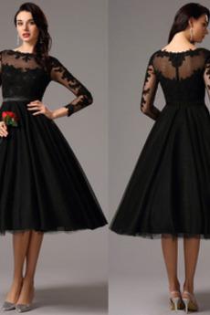 Kolena délka Podzim houpačka Elegantní Dlouhý rukáv Společenské šaty