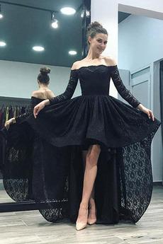 Krajka Asymetrické Představení Přirozeného pasu Večerní šaty