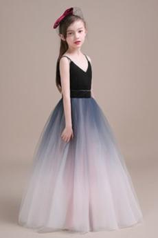 A-Čára Elegantní Bez rukávů Zip Přírodní pas Květinové dívky šaty