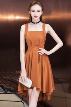 Kris Kros Náměstí Léto Asymetrické Přírodní pas Koktejlové šaty
