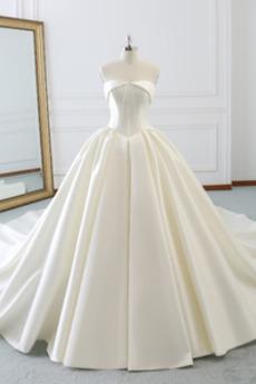 Jednoduchý Satén Střední Bez rukávů Přikrýt Zašněrovat boty Svatební šaty
