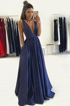 Satén Přirozeného pasu Výkon Hluboký výstřih do V Promové šaty