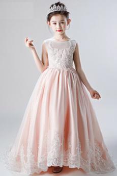 Přirozeného pasu Šperk Zamést vlak Bez rukávů Květinové dívky šaty