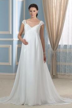 Říše pasu Elegantní Rosný rameno Víčko Plisovaný Svatební šaty