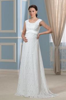 Říše Lopatka Elegantní Zamést vlak Přikrýt Říše pasu Svatební šaty