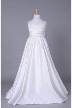 Háček okrajů V-krk Vysoký pas Říše pasu Bílá Květ dívka šaty