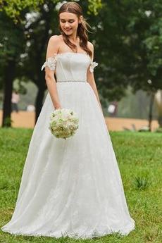 Zip nahoru S diakritikou růžice Přírodní pas Rovné rameno Svatební šaty