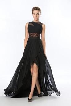 Přírodní pas Asymetrické Šifón Elegantní Plisovaný Večerní šaty