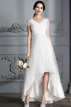 Krátký rukáv Střední Asymetrické V-krk Lištování Svatební šaty