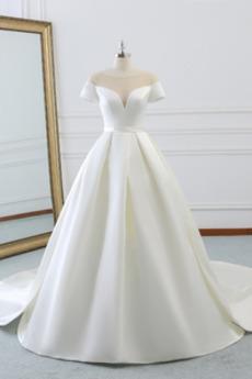 Délka podlahy Přírodní pas Elegantní Podzim Krátké rukávy Svatební šaty