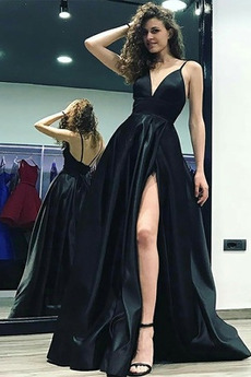 Bezzadu V-krk Banket Rozdělit přední Bez rukávů Večerní šaty
