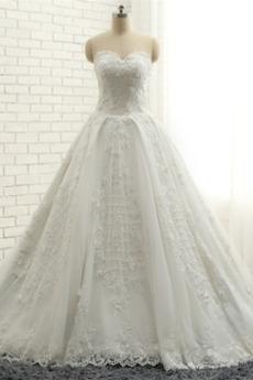 Krajkou Overlay Zašněrovat boty A-Čára Nášivky Svatební šaty