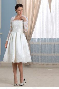Bez ramínek A-Čára Bezzadu Dlouhý rukáv Dvoudílné Svatební šaty 7676cf9b22