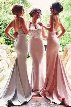 Svatba Střední S hlubokým výstřihem Sexy Krajkou Overlay Družička Šaty