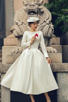 Satén Dlouhý rukáv Podzim Čaj délka Okouzlující Svatební šaty