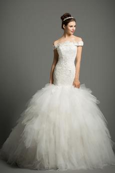 Moře dívka Dlouhý Rosný rameno Elegantní Přírodní pas Svatební šaty