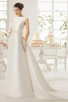 Bateau Plášť Sál Korálkový pás Zip nahoru Elegantní Svatební šaty