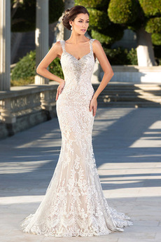 Bez rukávů Okouzlující Široké popruhy Mořská panna Svatební šaty