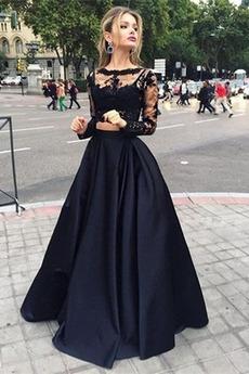 Elegantní Svatba Dlouhý rukáv Délka podlahy Přírodní pas Promové šaty