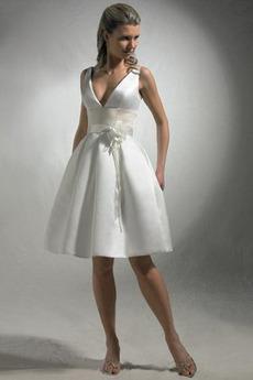 Krátký Levný Přírodní pas Šerpa Jaro Jeden květ popruh Svatební šaty
