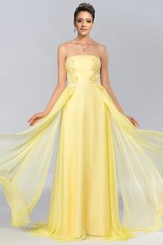 Bez ramínek Elegantní Šifón Dlouho A-Čára Střední Promové šaty
