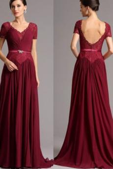 Skládaný živůtek Elegantní Zip nahoru Lištování Matka nevěsty šaty