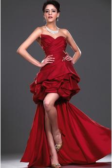 Dlouhá Tmavě červená Nášivky Klesl pas Vícevrstvý Koktejlové šaty 37d9e27baf