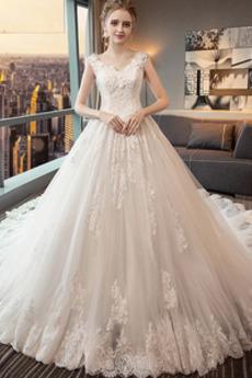 Bezzadu Krajkou Overlay Střední Formální Aplikací Svatební šaty