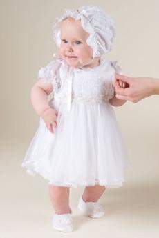Dojíždět Vysoká zahrnuty Víčko Podzim Krátké rukávy Křest šaty
