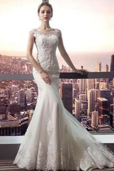 Rovné rameno Zamést vlak Lištování Střední Moře dívka Svatební šaty