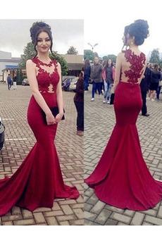 Klenot Bez rukávů Přikrýt Mořská panna Zip nahoru Promové šaty