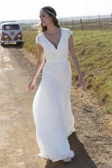 Víčko Přirozeného pasu A-Čára Zahrada Jaro V-krk Svatební šaty