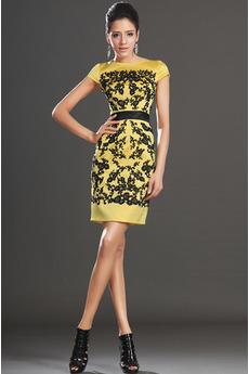 T-shirt rukáv Šerpa Plášť Přírodní pas Světle žlutá Koktejlové šaty