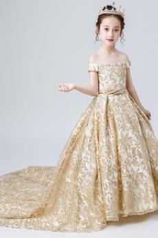 Zima Satén Krátký rukáv Výšivka A-Čára Víčko Květ dívka šaty