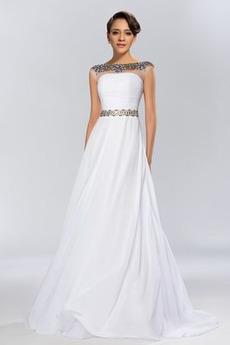 Dlouhý Elegantní A-Čára Šifón Bateau Krátký rukáv Společenské šaty