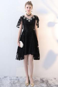 V-krk Přírodní pas Krátký rukáv Vysoká nízká Asymetrické Večerní šaty