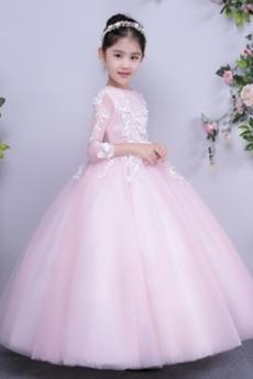 Iluze Zima Formální Dlouhý rukáv Krajka Květinové dívky šaty