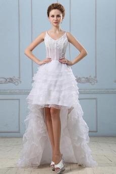 Střední záda Bílá Šik Bez rukávů Nášivky Asymetrické Svatební šaty